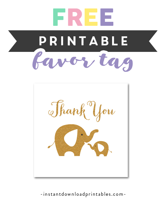 Free Printable Baby Shower White Gold Glitter Elephant Thank You