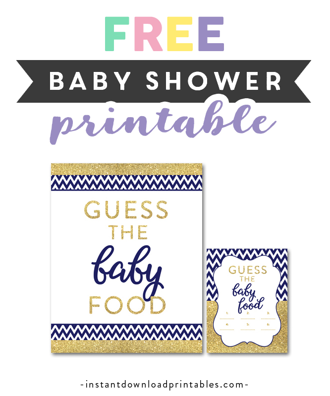 picture about Guess the Baby Food Game Printable known as Totally free Printable Boy or girl Shower Military Blue Chevron Gold Glitter