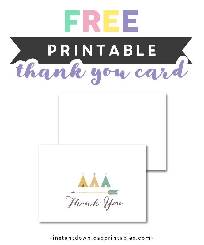 picture relating to Free Printable Thank You Cards to Color identify No cost Printable Little one Shower Tribal TeePee Indian Arrow