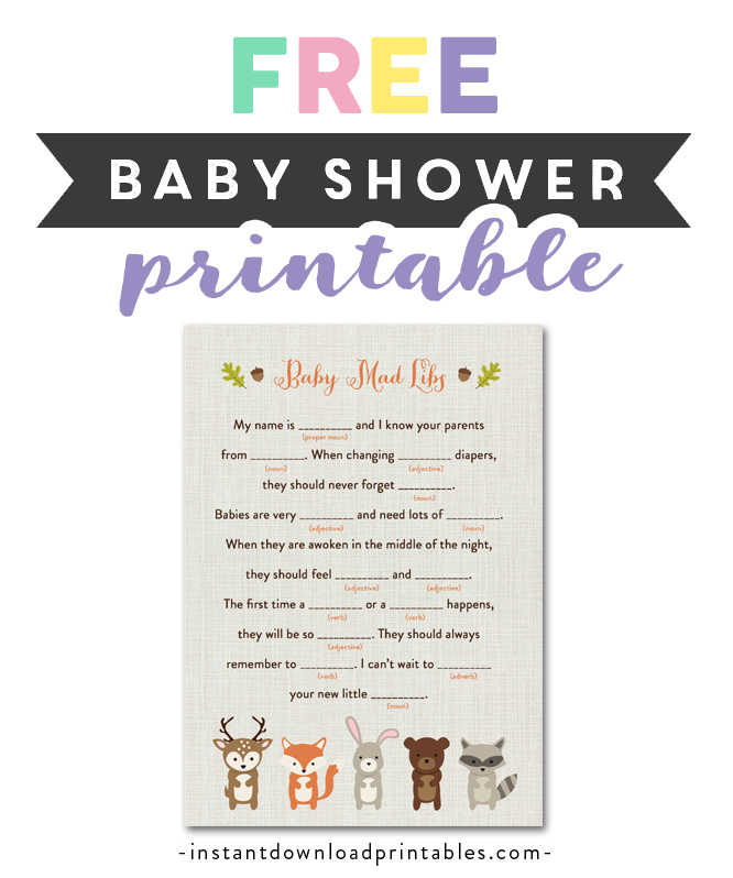 image about Baby Shower Mad Libs Printable Free identify Totally free Printable Child Shower Woodland Fox Forest Pets