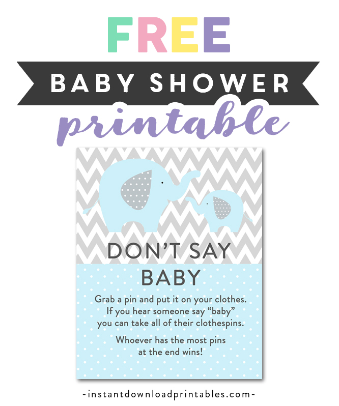 photo about Baby Printable named No cost Printable Child Shower Mild Blue Grey Chevron Elephant