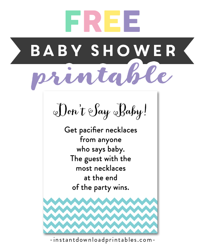 image regarding Free Don't Say Baby Printable known as Absolutely free Printable Kid Shower Blue Chevron Youngster Boy - Video game Put on