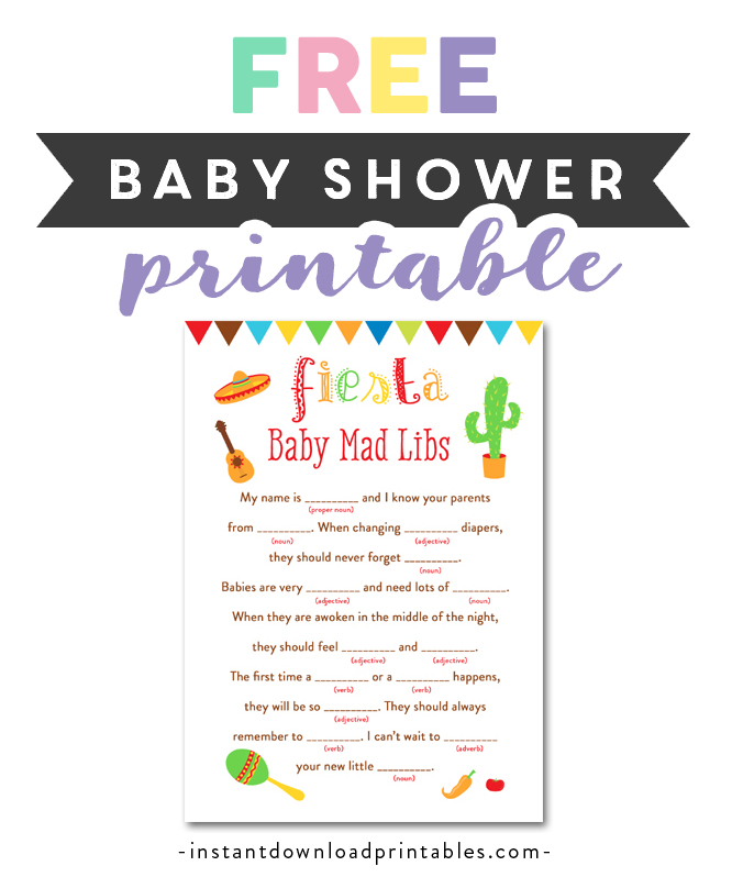 image about Bridal Shower Mad Libs Printable referred to as Free of charge Printable Little one Shower Fiesta - Video game Ridiculous Libs