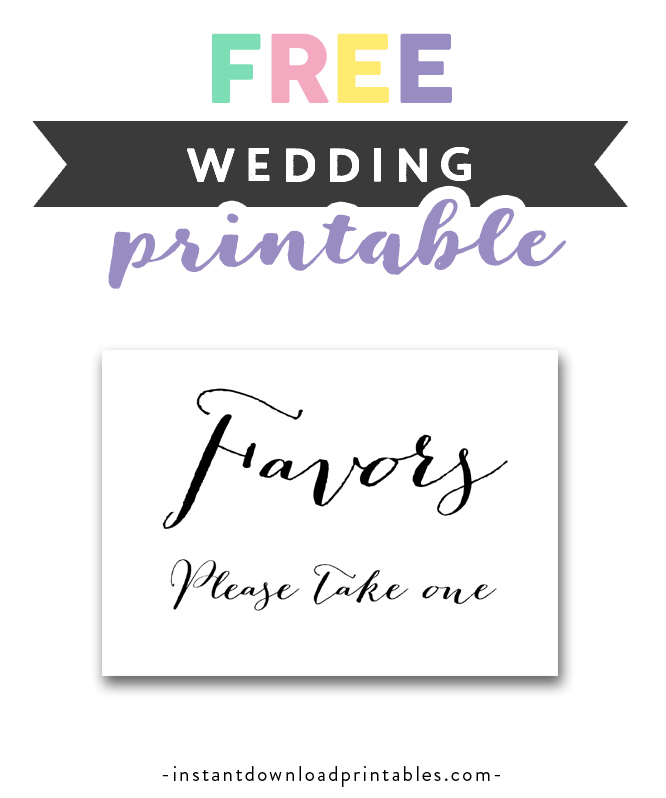 image about Please Take One Sign Printable named Absolutely free Printable Wedding ceremony Signal Black and White - Favors You should