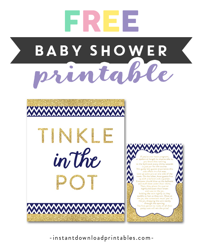 Free Printable Baby Shower Game Tinkle In The Pot Navy Blue Gold