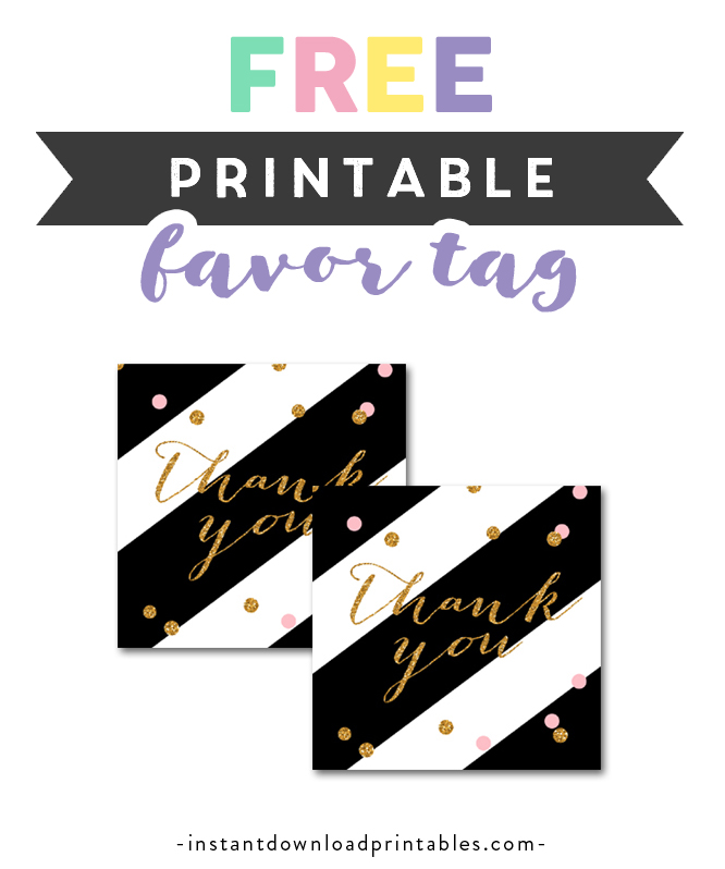 graphic relating to Thank You Tag Free Printable referred to as Cost-free Printable Thank On your own Tag Black Gold Glitter Confetti