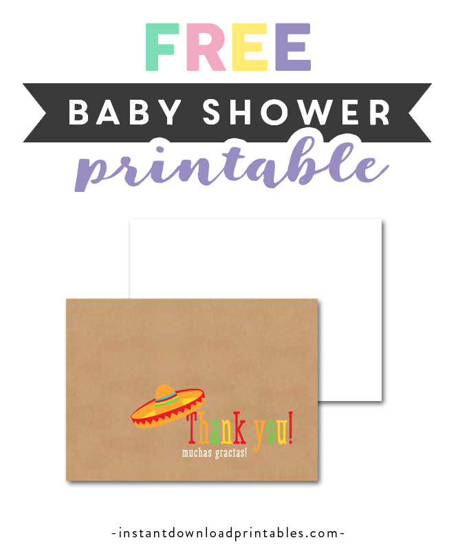 picture regarding Free Printable Baby Shower Thank You Cards referred to as Cost-free Printable Little one Shower Kraft Fiesta - Thank Your self Card
