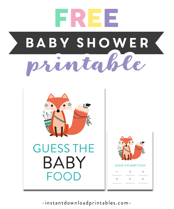 photo relating to Guess the Baby Food Game Free Printable named Totally free Printable Child Shower Tribal Fox - Sport Wager the Youngster