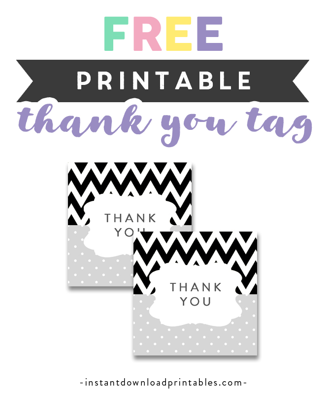 photo regarding Free Printable Baby Shower Thank You Tags called Absolutely free Printable Youngster Shower Black White Grey Chevron - Thank