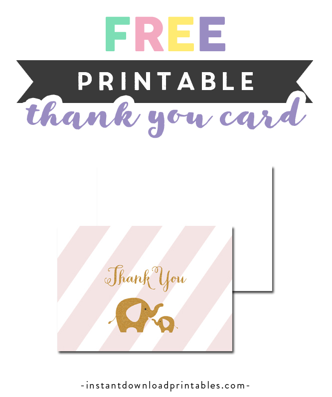 Free Printable Baby Shower Blush Pink Gold Glitter Elephant Thank You Card Instant Download Instant Download Printables