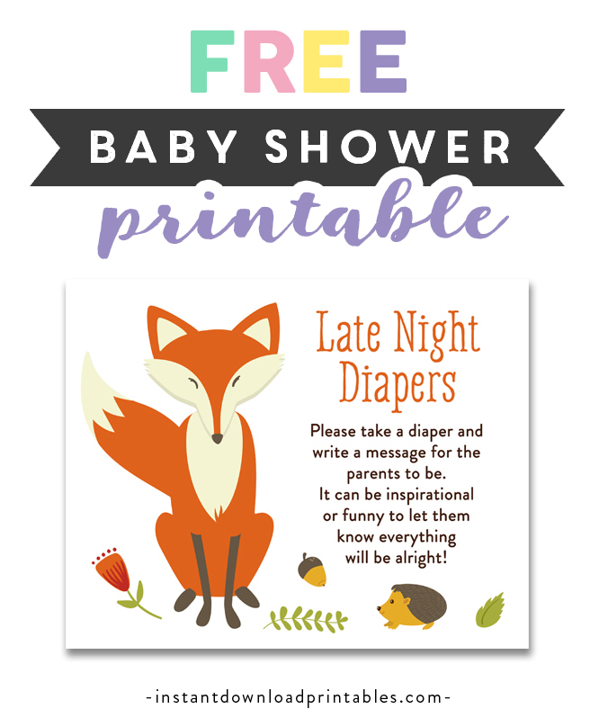 picture about Late Night Diapers Printable named No cost Printable Child Shower Woodland Fox Forest Little one Pets