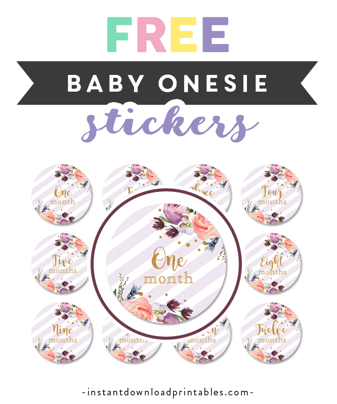 picture about Baby Month Stickers Printable identify Totally free Printable Boy or girl Onesie Stickers - Crimson Lavender