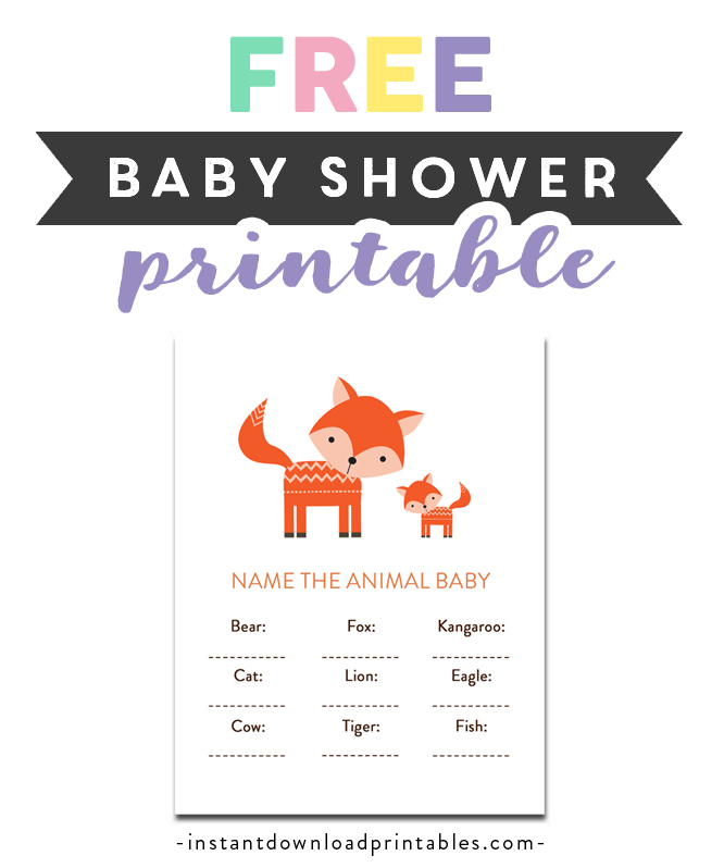 Free Printable Baby Shower Cute Woodland Fox Forest Baby Animals Game Name The Animal Baby Instant Download Instant Download Printables