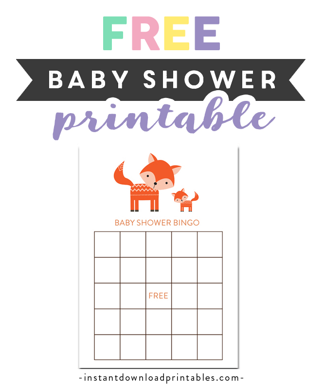 image about Animal Bingo Printable known as Cost-free Printable Youngster Shower Adorable Woodland Fox Forest Boy or girl