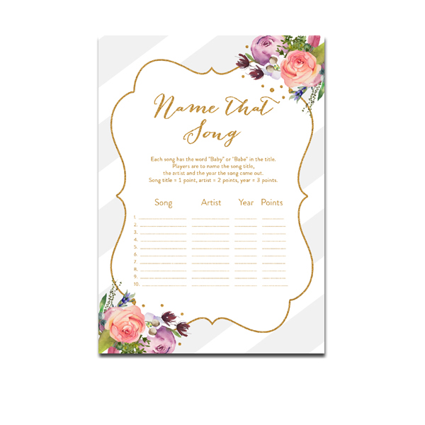 Free Printable Baby Shower Game Name That Song Gray Watercolor Floral Gold Glitter Instant Download Instant Download Printables