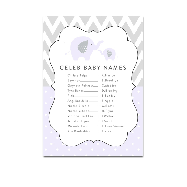Free Printable Baby Shower Game Celeb Baby Names Purple Gray Elephant Chevron Instant Download Instant Download Printables