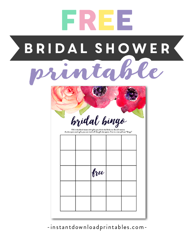 picture regarding Bridal Shower Games Free Printable named Free of charge Printable Bridal Shower Sport - Bingo - Watercolor