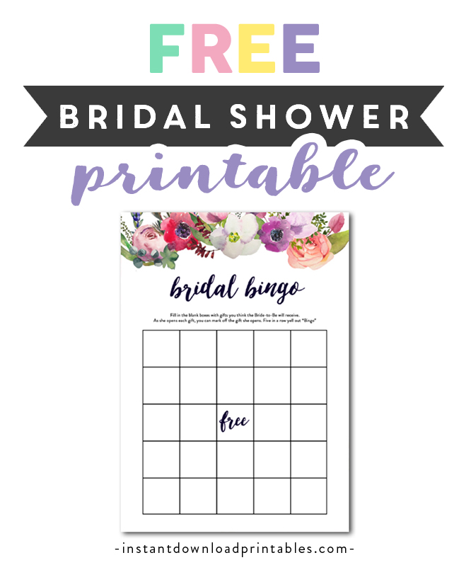 photograph about Printable Bridal Shower Games referred to as Absolutely free Printable Bridal Shower Sport - Bingo - Watercolor
