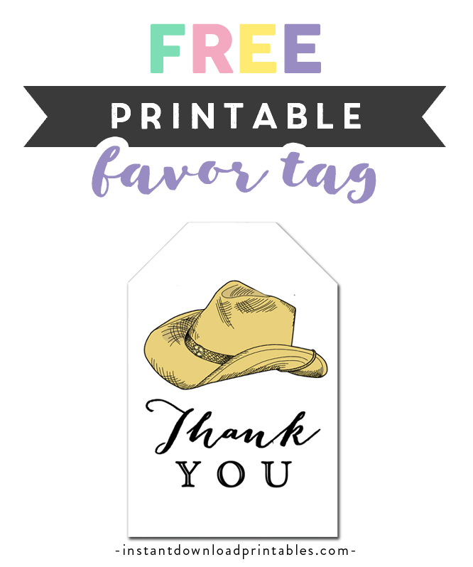 image about Cowboy Hat Printable called Absolutely free Printable Thank By yourself Tags - Rustic Region Cowboy Hat