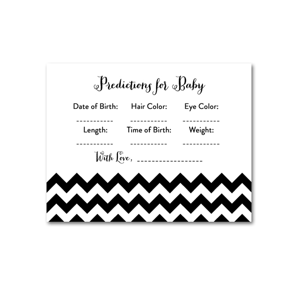 photo regarding Baby Prediction Cards Free Printable named Free of charge Printable Boy or girl Shower Black White Chevron - Recreation