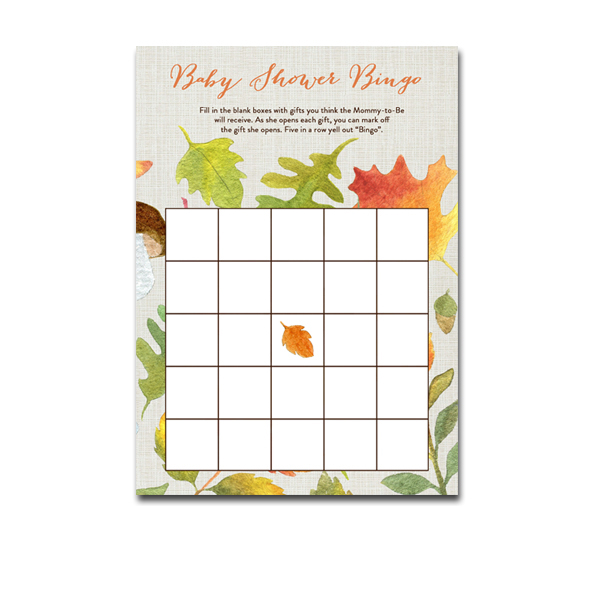 photo relating to Fall Bingo Printable named Absolutely free Printable Youngster Shower Autumn Slide Leaves - Recreation Bingo