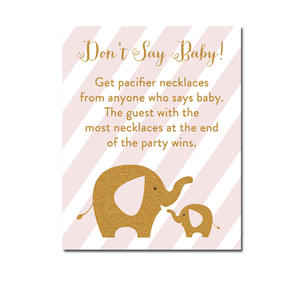 Free Printable Baby Shower Blush Pink Gold Glitter Elephant Game Don T Say Baby Instant Download Instant Download Printables
