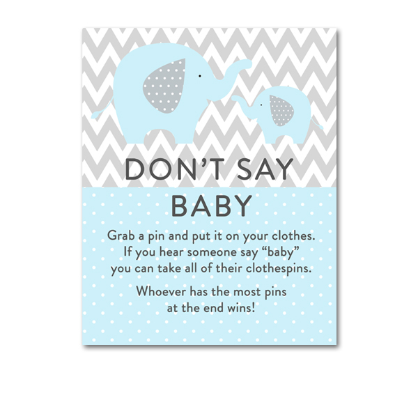 image regarding Don't Say Baby Sign Free Printable identified as Little one Boy or girl elephant Boy or girl Shower t