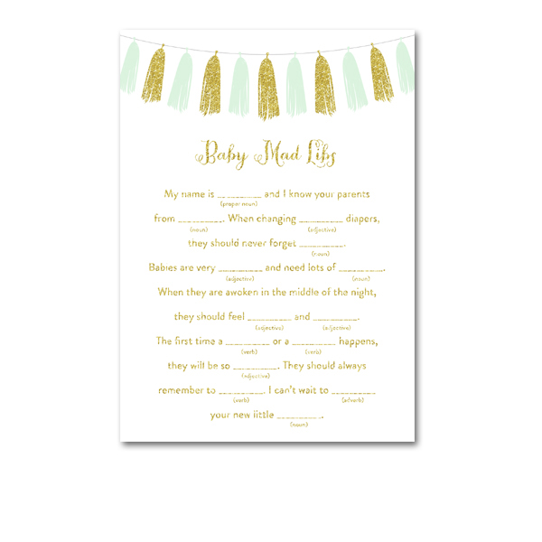 photo about Baby Shower Mad Libs Printable Free named Absolutely free Printable Kid Shower Mint Inexperienced Tel Gold Glitter