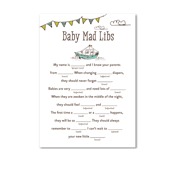 picture about Baby Shower Mad Libs Printable named Absolutely free Printable Little one Shower Nautical Boat Send out Child Boy