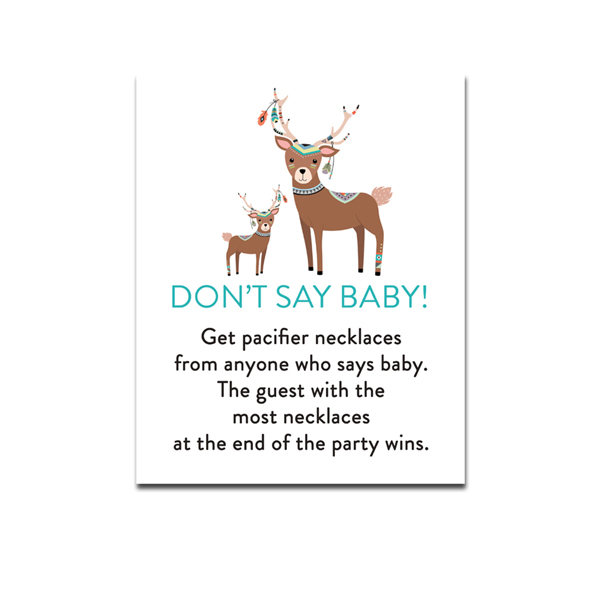 picture regarding Don T Say Baby Game Printable named Cost-free Printable Boy or girl Shower Rustic State Tribal Deer - Video game