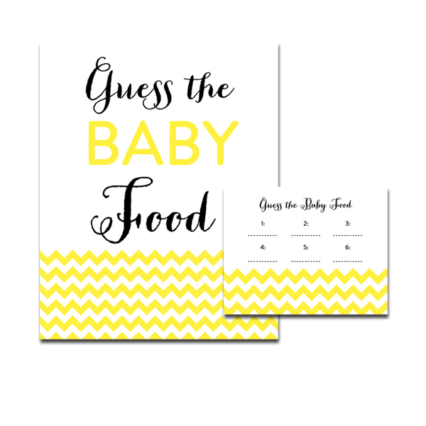 photograph regarding Guess the Baby Food Game Printable known as Totally free Printable Boy or girl Shower Yellow Chevron Gender Impartial