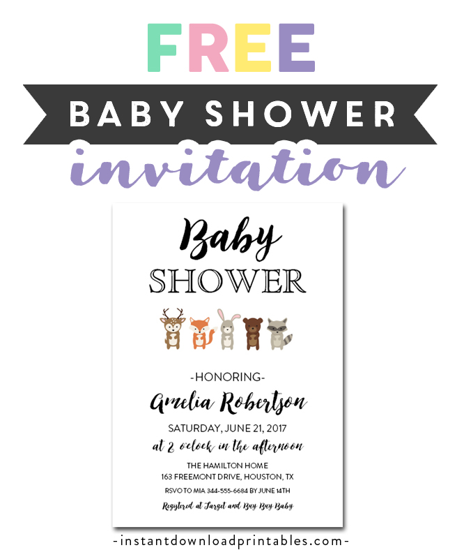 photo relating to Free Printable Woodland Baby Shower Invitations called Cost-free Printable Editable PDF Boy or girl Shower Invitation Do it yourself