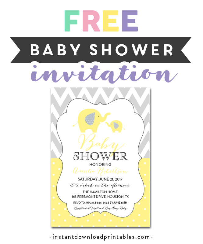 image relating to Free Printable Elephant Baby Shower Invitations called Totally free Printable Editable PDF Child Shower Invitation Do it yourself