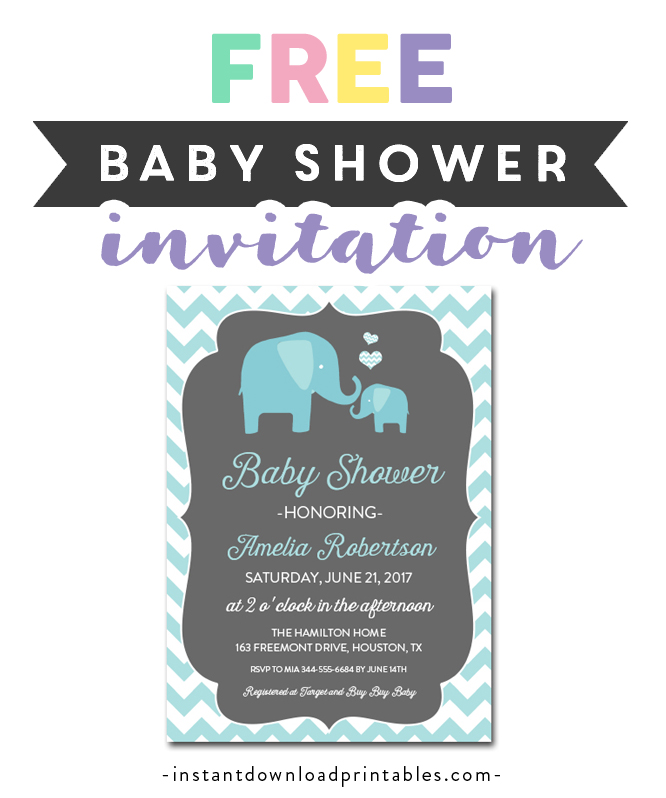 Baby Shower Invitation Diy Teal Gray