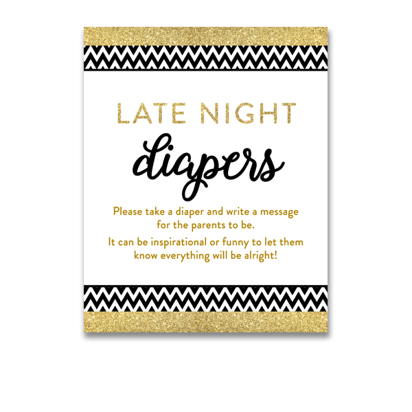 Free Printable Baby Shower Black Gold Glitter Chevron Activity Late Night Diapers Instant Download Instant Download Printables