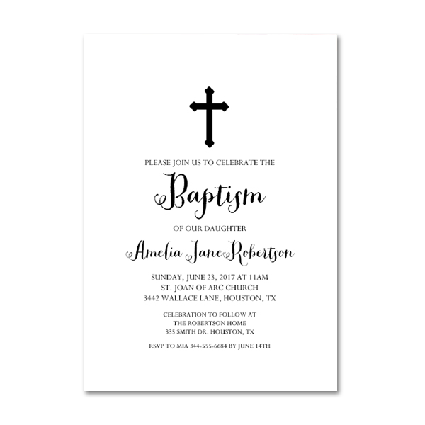 graphic about Free Printable Baptism Invitations identify Totally free Printable Editable PDF Baptism Invitation Do it yourself - Black