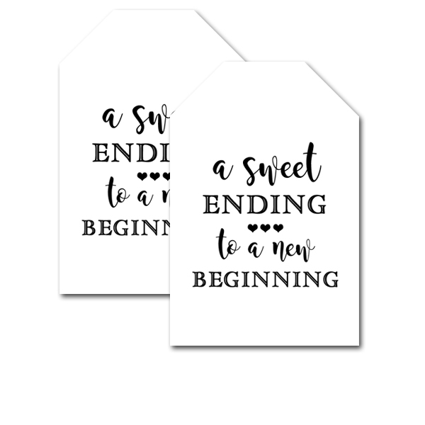 Free Printable Wedding Favor Tags Black White A Sweet Ending To A
