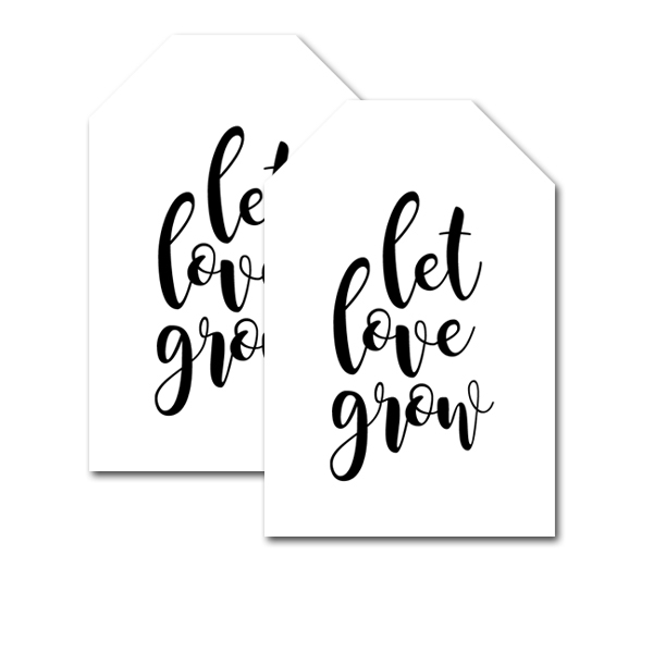 Free Printable Wedding Favor Tags Black White Let Love Grow