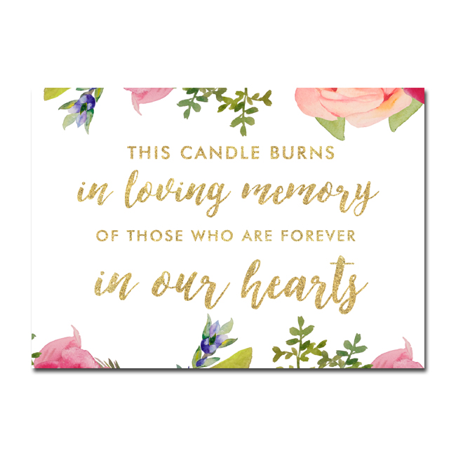 This candle burns in loving memory sign