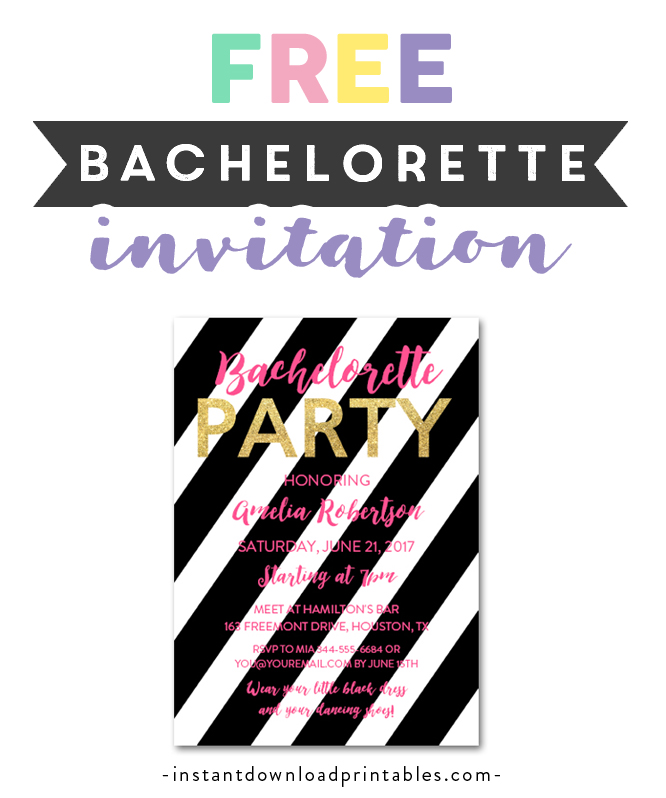 photograph regarding Free Printable Bachelorette Party Invitations identified as Free of charge Printable Editable PDF Bachelorette Get together Invitation