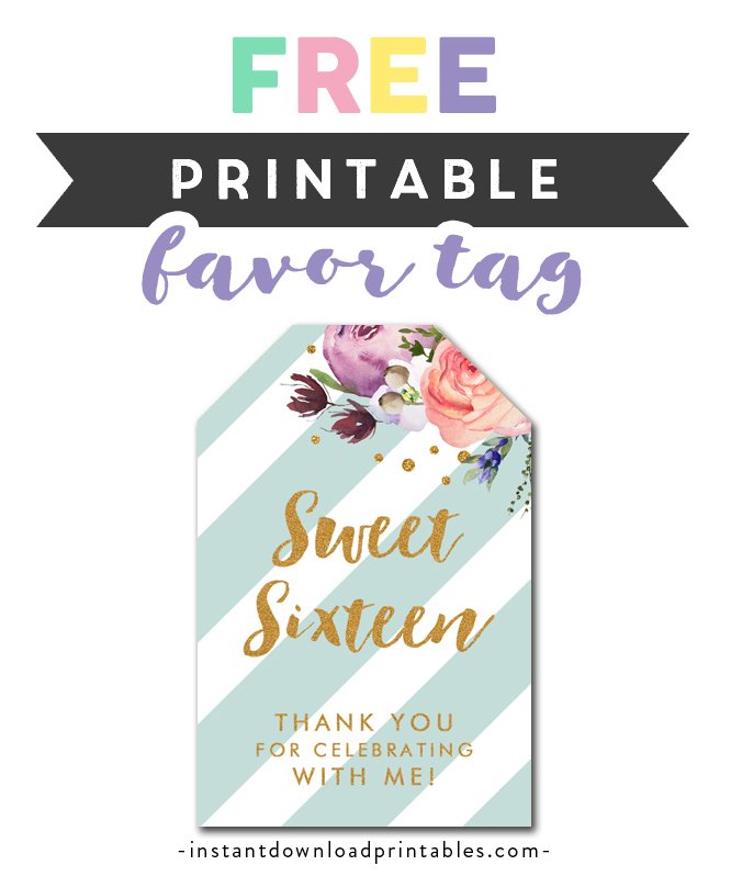 picture regarding Free Printable Thank You Tags for Birthdays titled Cost-free Printable Thank Yourself Tags - Lovable 16 16 Mint Environmentally friendly