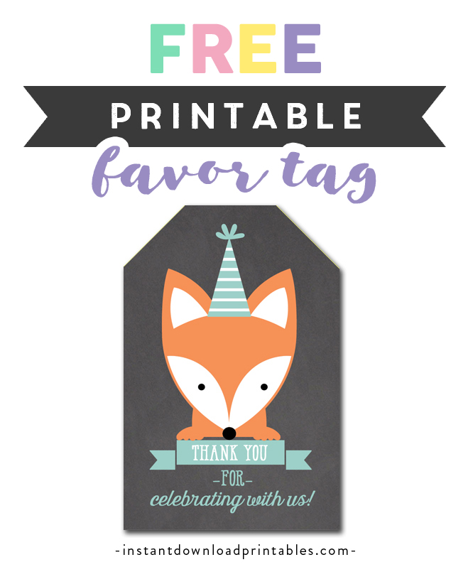 picture relating to Fox Printable referred to as Absolutely free Printable Thank By yourself Tags - Chalkboard Woodland Fox