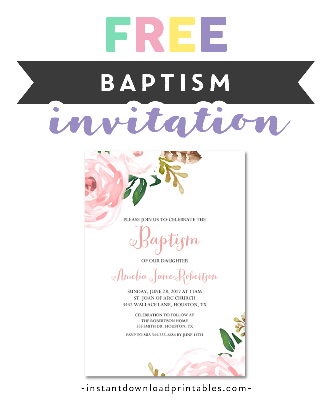 picture relating to Free Printable Baptism Invitations called Free of charge Printable Editable PDF Baptism Invitation Do-it-yourself - Red