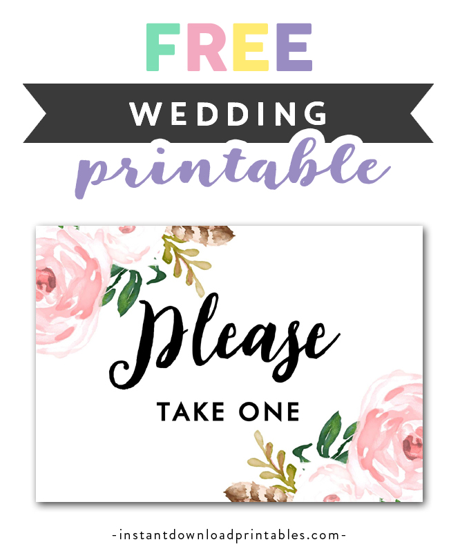 image relating to Free Printable Please Take One Sign identify Totally free Printable Wedding ceremony Indicator Bouquets - Remember to Acquire A single