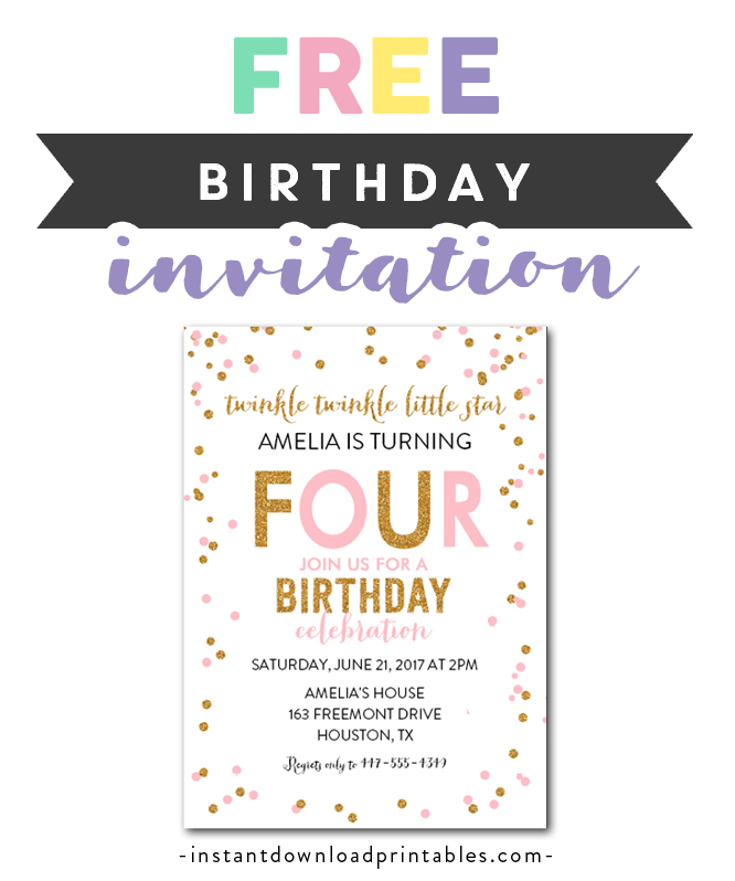 photograph about Free Printable Twinkle Twinkle Little Star Baby Shower Invitations titled Absolutely free Printable Editable PDF Birthday Celebration Invitation Do it yourself