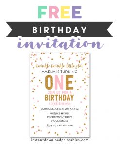Free Printable Editable PDF Birthday Party Invitation DIY Twinkle Little Star Gold Glitter 1st ONE Instant Download Edit In Adobe