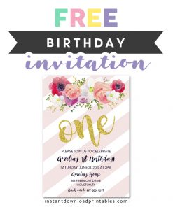 Free Printable Editable PDF Birthday Party Invitation DIY Blush Pink Gold Glitter Watercolor Flowers 1st ONE Instant Download Edit In Adobe