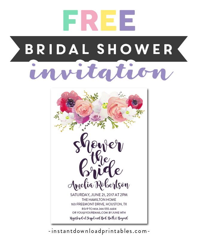 graphic relating to Free Printable Wedding Shower Invitations titled Free of charge Printable Editable PDF Bridal Shower Invitation Do it yourself