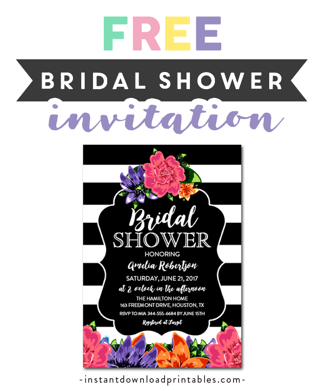 5x7 DIY at home with Adobe Reader Instant Download Editable PDF Black and White Stripe Watercolor Flower Graduation Invitation