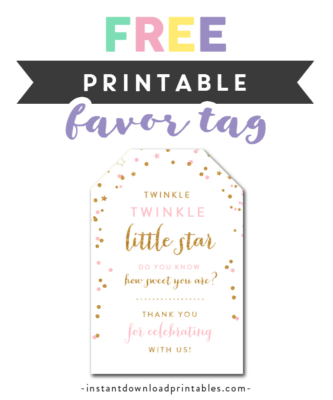 picture regarding Free Printable Baby Shower Favor Tags named Absolutely free Printable Thank Your self Tags - Twinkle Twinkle Very little Star